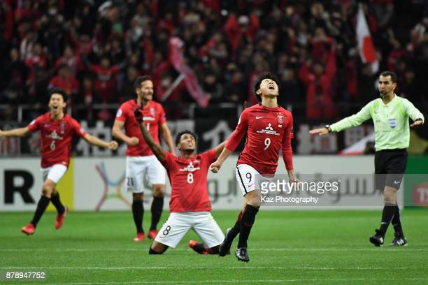 Urawa Red Diamonds players celebrate their 10 victory and the Asian champions after the AFC Champions League Final second leg match between Urawa Red...