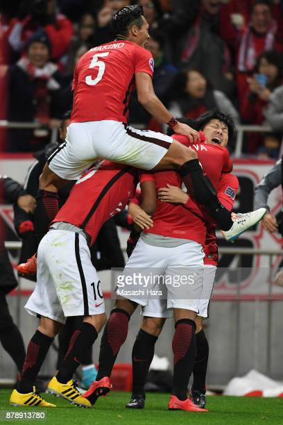 Urawa Red Diamonds players celebrate their first goal by Rafael Silva during the AFC Champions League Final second leg match between Urawa Red...