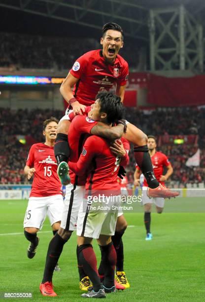 Urawa Red Diamonds players celebrates their first goal scored by Rafael Silva during the AFC Champions League Final second leg match between Urawa...