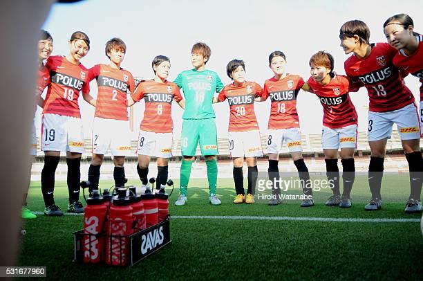 Urawa Red Diamonds players huddle prior to the Nadeshiko League match between Urawa Red Diamonds Ladies and JEF United Chiba Ladies at the Urawa...