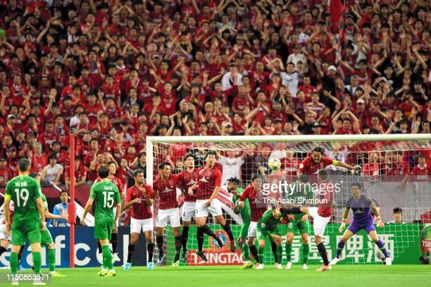 Urawa Red Diamonds players makes a wall during the AFC Champions League Group G match between Urawa Red Diamonds and Beijing Guoan at Saitama Stadium...