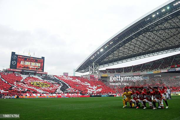 Urawa Red Diamonds players pose for photograph prior to the JLeague match between Urawa Red Diamonds and Sanfrecce Hiroshima at Saitama Stadium on...