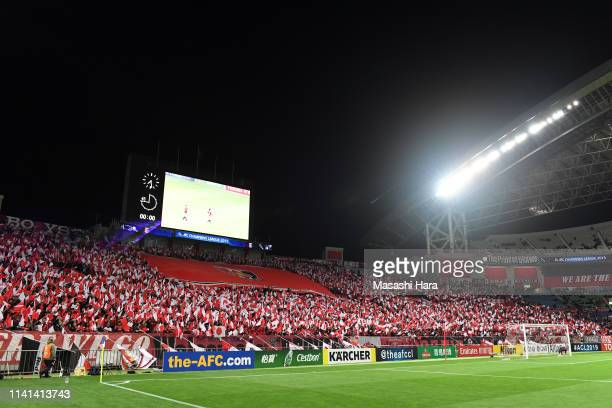Urawa Red Diamonds supporters cheer prior to the AFC Champions League Group G match between Urawa Red Diamonds and Jeonbuk Hyundai Motors at Saitama...