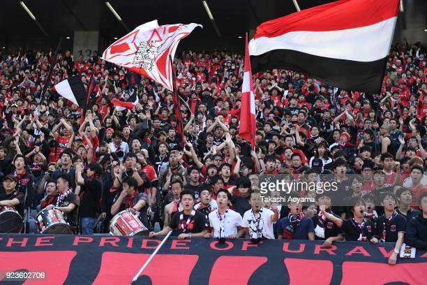 Urawa Red Diamonds supporters cheer prior to the JLeague J1 match between FC Tokyo and Urawa Red Diamonds at Ajinomoto Stadium on February 24 2018 in...