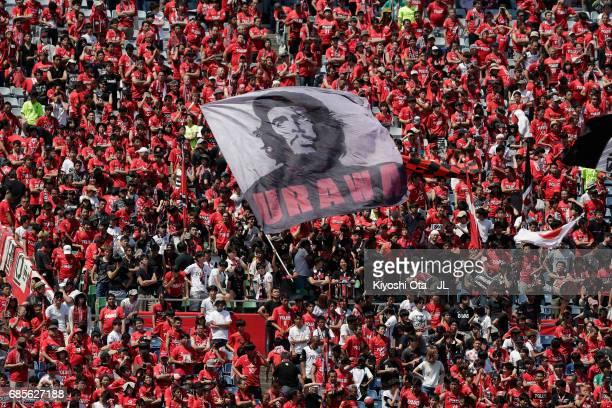 Urawa Red Diamonds supporters cheer prior to the JLeague J1 match between Urawa Red Diamonds and Shimizu SPulse at Saitama Stadium on May 20 2017 in...