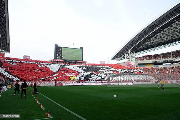 Urawa Red Diamonds supporters cheer prior to the JLeague match between Urawa Red Diamonds and Vissel Kobe at Saitama Stadium on November 22 2015 in...