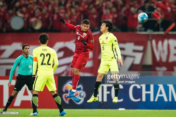 Urawa Reds Defender Endo Wataru and Shanghai FC Forward Elkeson De Oliveira Cardoso in action during the AFC Champions League 2017 Group F match...