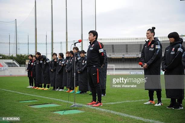 Urawa Reds Ladies head coach Yasushi Yoshida speaks to fans after the Nadeshiko League match between Urawa Red Diamonds Ladies and NTV Beleza at...