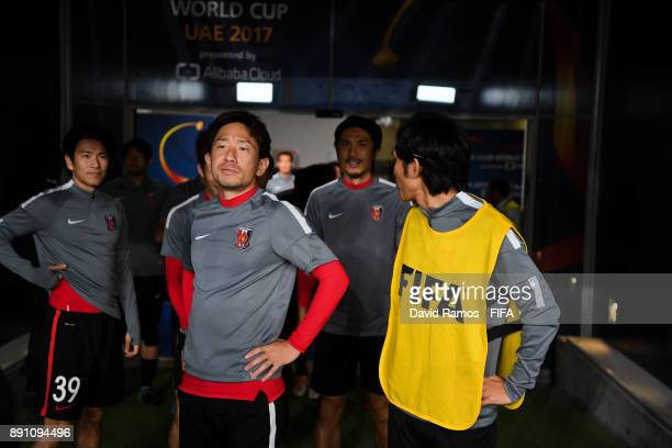 Urawa Reds players look on prior to the FIFA Club World Cup UAE 2017 fifth place playoff match between Wydad Casablanca and Urawa Reds on December 12...