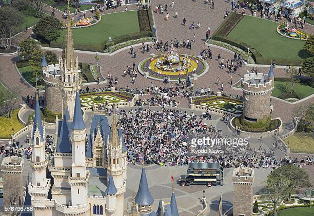 Urayasu Japan A photo from a Kyodo News helicopter shows Tokyo Disneyland in Urayasu Chiba Prefecture east of Tokyo on April 15 2011 Visitors flocked...