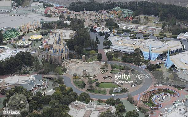 Urayasu Japan File photo from a Kyodo News helicopter taken on March 23 shows Tokyo Disneyland in Urayasu Chiba Prefecture Tokyo Disneyland and...