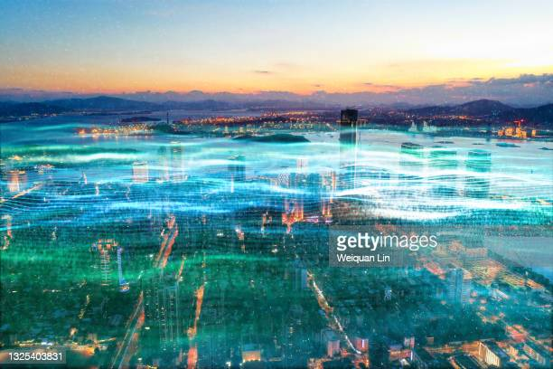 urban 5g network data communication concept - fujian province stock pictures, royalty-free photos & images
