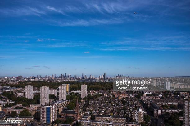 Urban Aerial sky blue aerial view of London