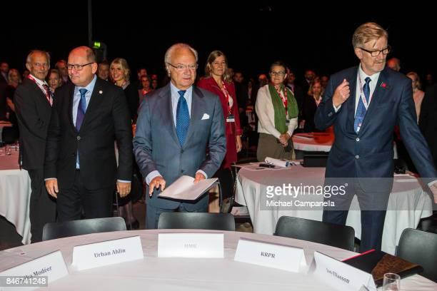 Urban Ahlin Carl XVI Gustaf of Sweden and Jan Eliasson attend the 2017 Stockholm Security Conference at Artipelag on September 14 2017 in Stockholm...