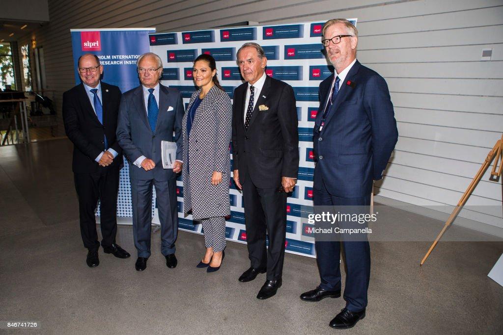 Urban Ahlin, Carl XVI Gustaf of Sweden, Princess Victoria of Sweden, and Jan Eliasson attend the 2017 Stockholm Security Conference at Artipelag on September 14, 2017 in Stockholm, Sweden.