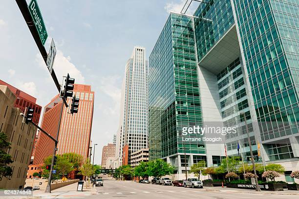 urban architecture and streets downtown omaha nebraska midwest usa - nebraska stock photos and pictures