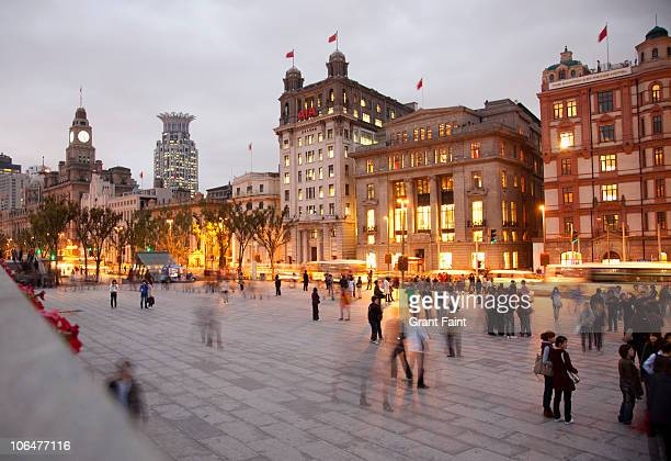 urban area at night - the bund stock photos and pictures