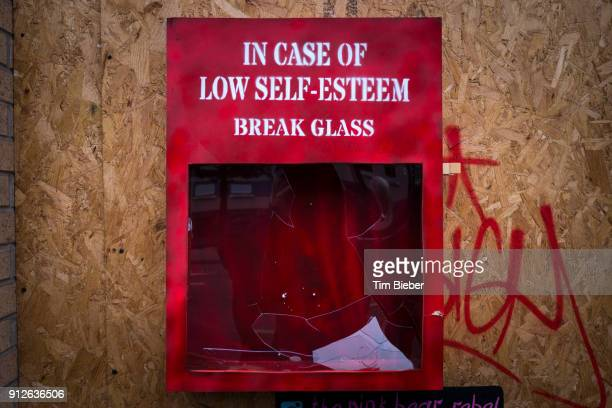 Urban Art 'Break Glass in case of low self esteem'