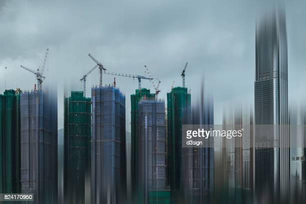 Urban city development in abstract style