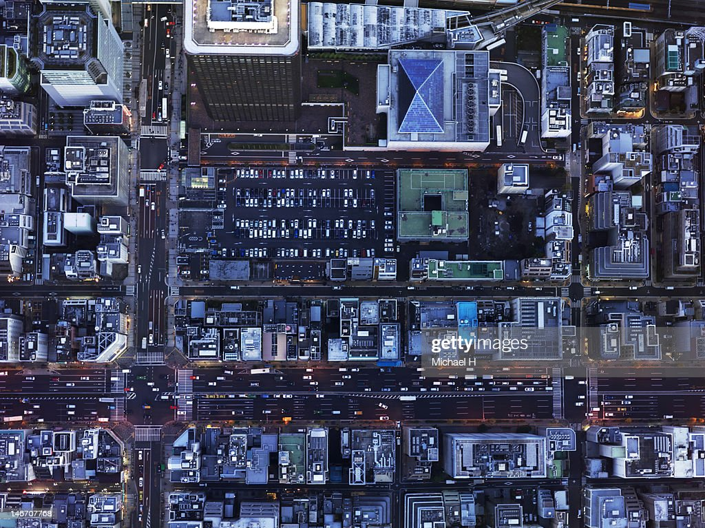 Urban city from the bird's eye view : Stock Photo
