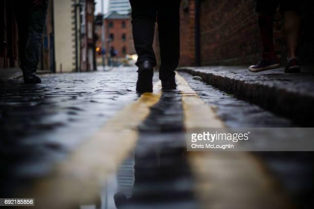 Urban city scene in Leeds, UK. Cobble Street