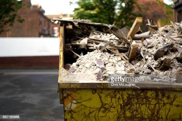 Urban city scene in Leeds, UK, Refuse skip