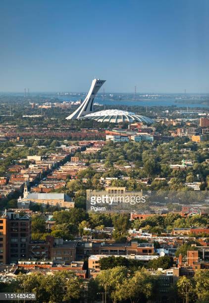 urban city skyline from mount royal in montreal, canada - olympic stadium stock pictures, royalty-free photos & images