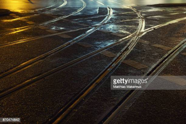 Urban City Street Night Lines with Lights and Reflection