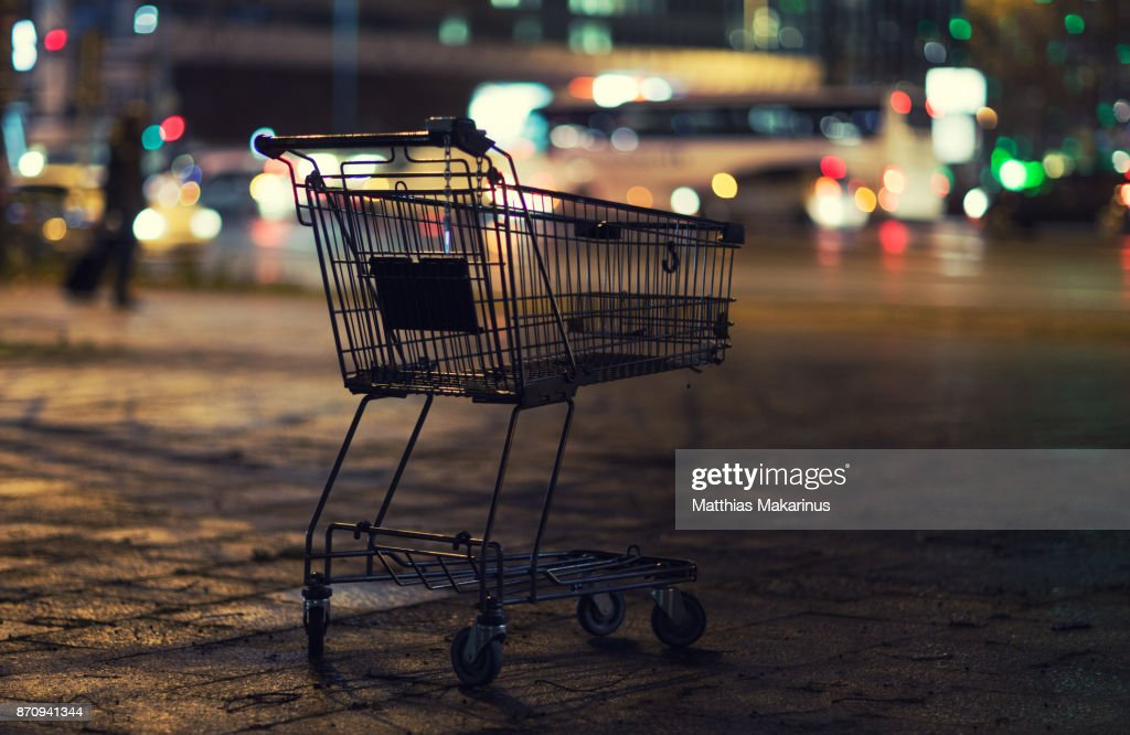 Urban City Street Night Szene with Shopping Cart and Traffic Lights : Stock Photo