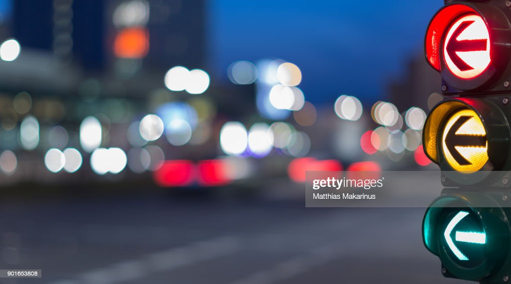 Urban City Street Szene with colorful Traffic Lights and Bokeh Night Lights : Stock Photo