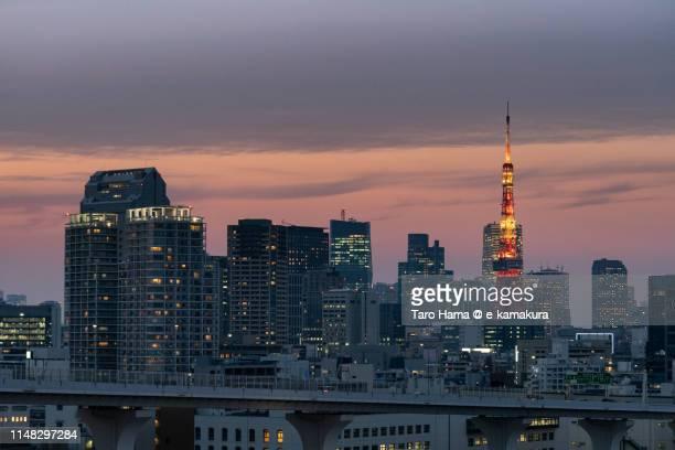 Urban city sunset in Tokyo
