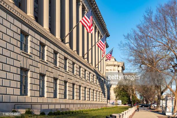 urban cityscape of eisenhower executive office building exterior at dusk, washington dc, usa, - federal building stock pictures, royalty-free photos & images