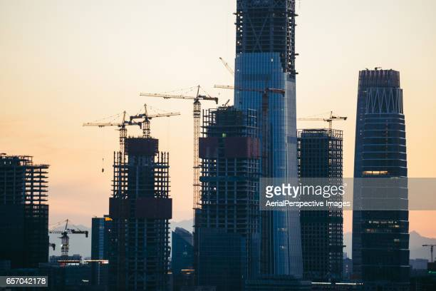 Urban construction in Beijing at Sunset