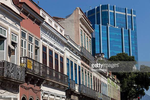 Urban contrast - preserved sobrados, two or more story ancient houses from the colonial and imperial periods in Brazil next to corporate modern...