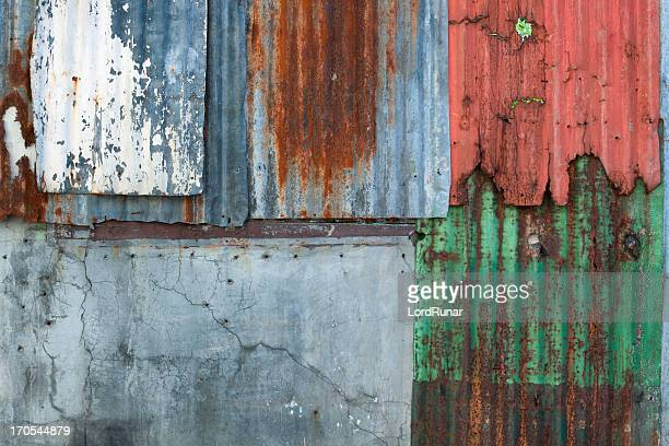 urban corrugated iron wall - corrugated iron stock photos and pictures