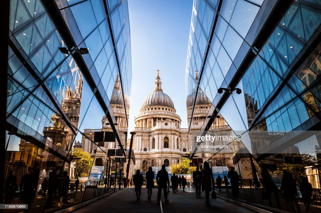 Urban crowd and futuristic architecture in the city, London, UK : Stock Photo