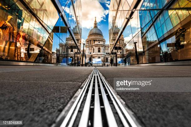 urban crowd and futuristic architecture in the city, london, uk - downtown stock pictures, royalty-free photos & images