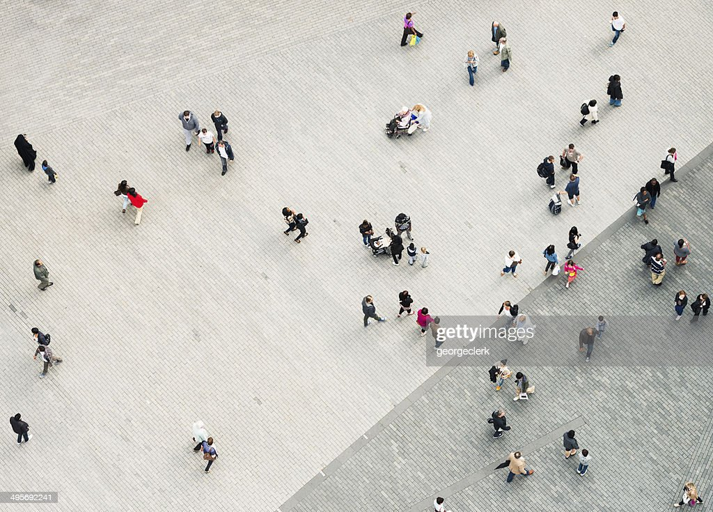 Urban crowd from above : Stock Photo