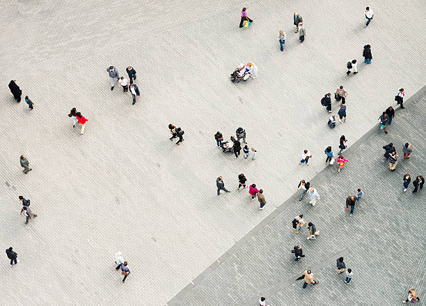 urban crowd from above - people stock pictures, royalty-free photos & images