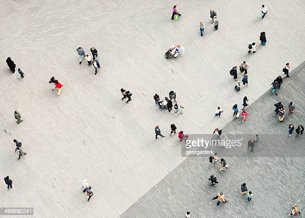 urban crowd from above - high street stock pictures, royalty-free photos & images