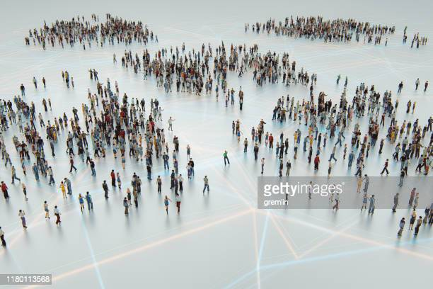 urban crowds of people from above - global communications stock pictures, royalty-free photos & images