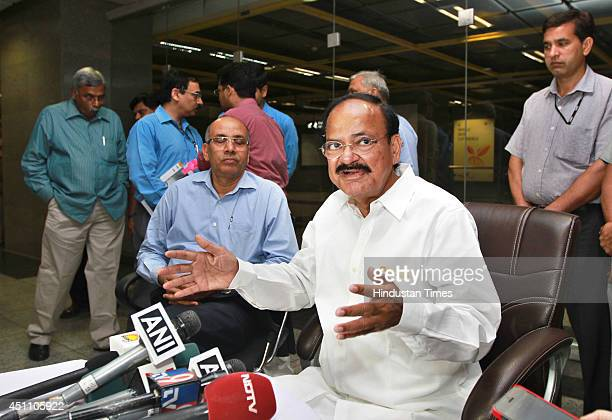 Urban Development Minister M Venkaiah Naidu addressing media at Metro station after travelling by the Airport Express Metro train on June 23 2014 in...