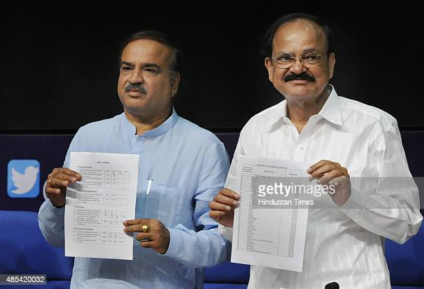 Urban Development Minister M Venkaiah Naidu along with Minister of Chemicals and Fertilizers Ananth Kumar announces 98 Smart City names at a press...