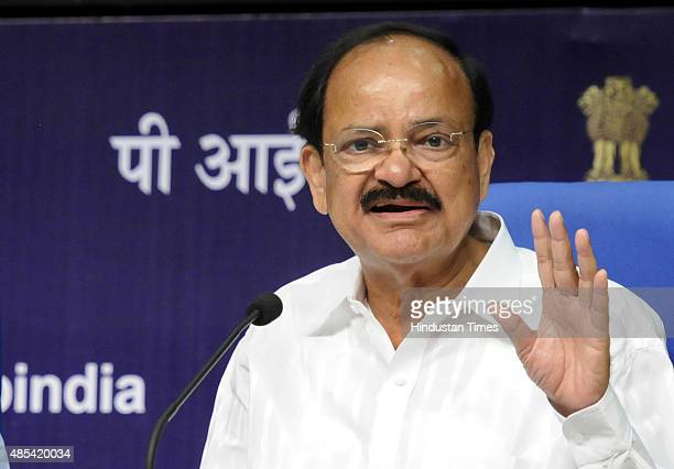 Urban Development Minister M Venkaiah Naidu announces 98 Smart City names at a press conference on August 27 2015 in New Delhi India In a move aimed...