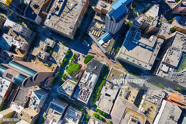 urban downtown aerial of seattle's westlake center - seattle stock pictures, royalty-free photos & images