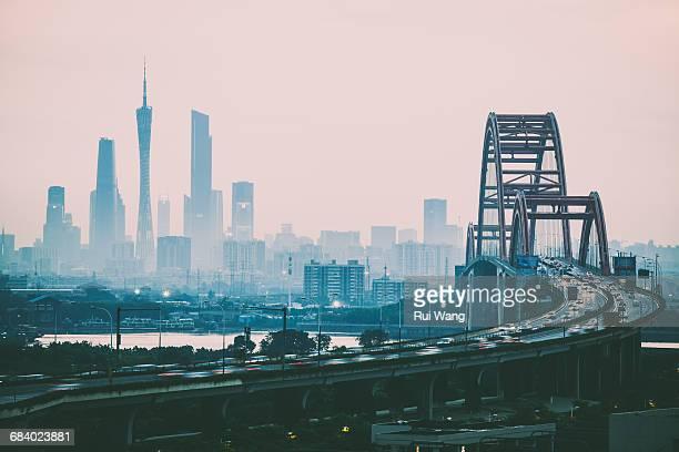 urban dusk in guangzhou - guangzhou stock-fotos und bilder
