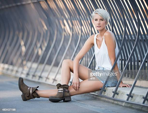 urban fashion, beautiful woman wearing a leisure trendy outfit - white hair stock pictures, royalty-free photos & images