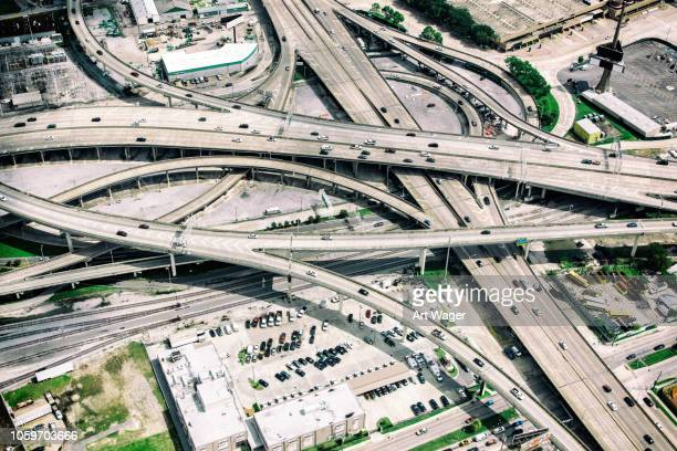 urban freeways connecting - aerial view - louisiana stock pictures, royalty-free photos & images