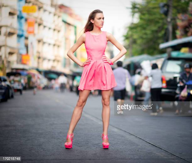 urban haute couture - pink dress stock photos and pictures