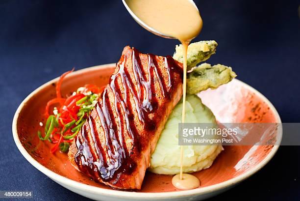 Urban Heights' Salmon with hoisin glaze, wasabi mashed potatoes and tempura asparagus.